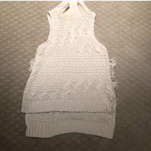 free people sleeveless turtleneck fringe sweater